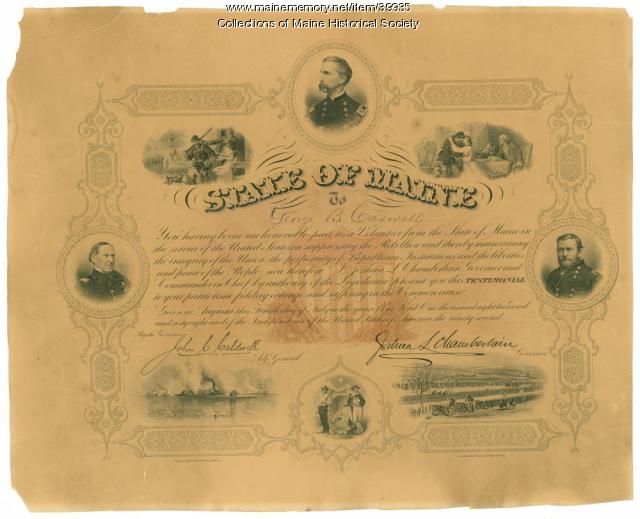 George B. Caswell Civil War service testimonial, 1868