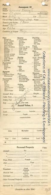 Assessor's Record, 301-303 St. John Street, Portland, 1924