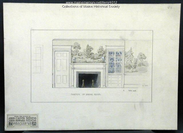 Sketch of Dining Room, Portland, 1924