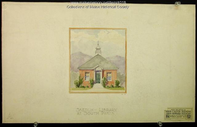 South Paris Library drawing, ca. 1925