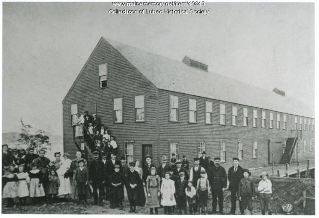 Sardine factory workers, Lubec, ca. 1900