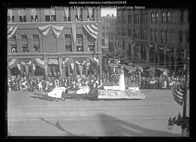 Maine Centennial parade, Portland Head Light float, Portland, 1920