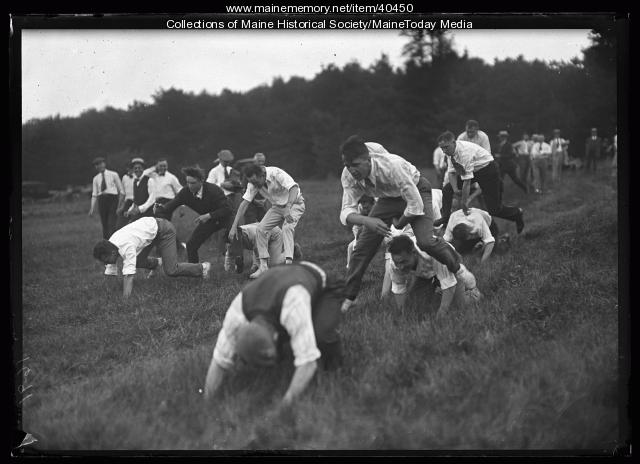 Kiwanis leap frog game, Scarborough, 1920