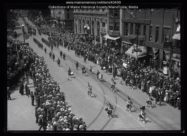 Bagpipers, Maine Centennial, Portland, 1920