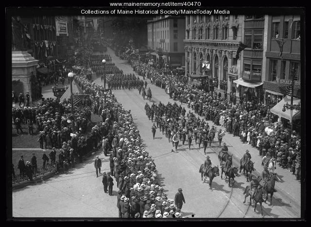 Maine Centennial parade, military marching band, Portland, 1920