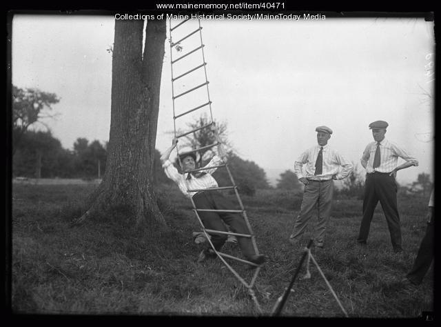 Rope ladder climb, Scarborough, 1920