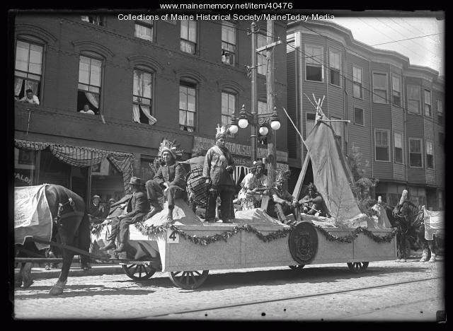 Maine Centennial Celebration Float #4 in Historic Floats Parade, Portland, 1920