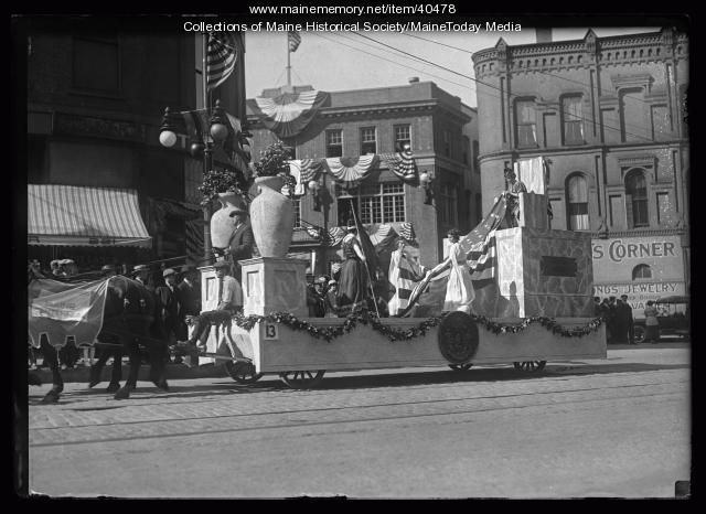 Statehood float, Maine Centennial, Portland, 1920