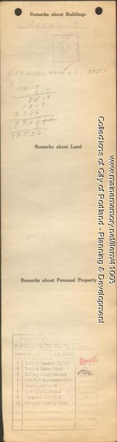 Assessor's Record, 63-65 Adams Street, Portland, 1924