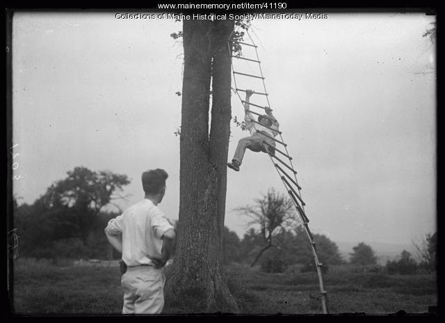 Ladder climb competition at Portland Kiwanis reunion, Scarborough, 1920