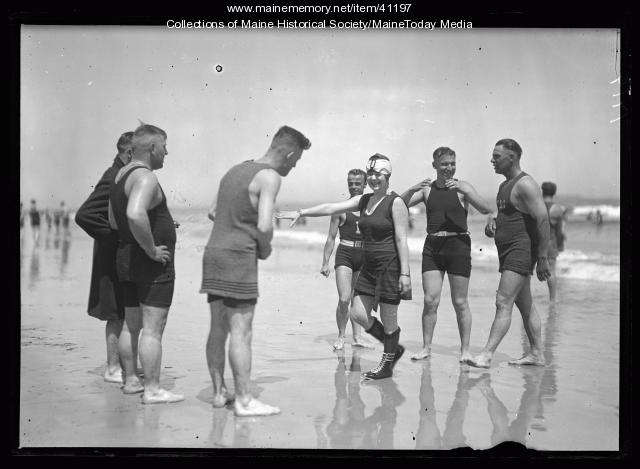 Men and women in bathing suits, Old Orchard Beach, ca. 1920