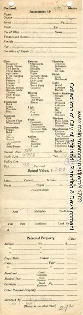 Assessor's Record, 218 Coyle Street, Portland, 1924