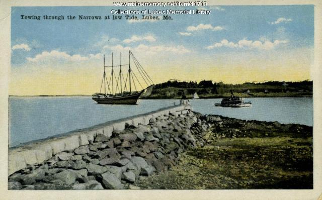 Four-masted schooner towed through Lubec Narrows, ca. 1920