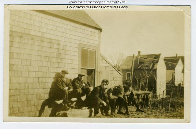 Lubec men sunning themselves, ca. 1915