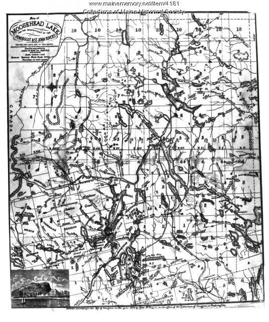 Moosehead Lake area map, 1874