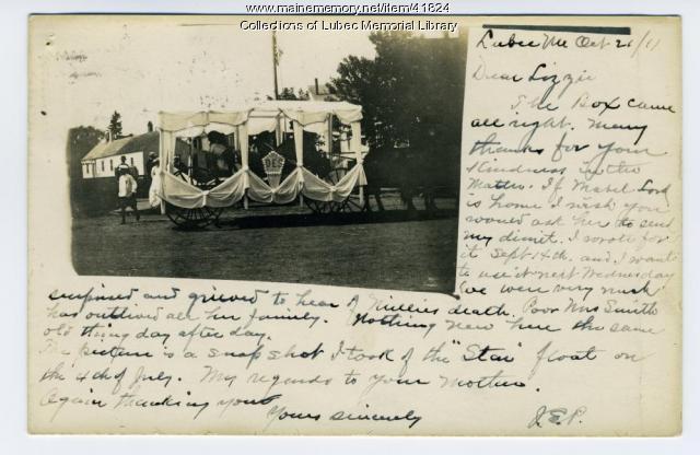 Eastern Star Centennial parade float, Lubec, 1911