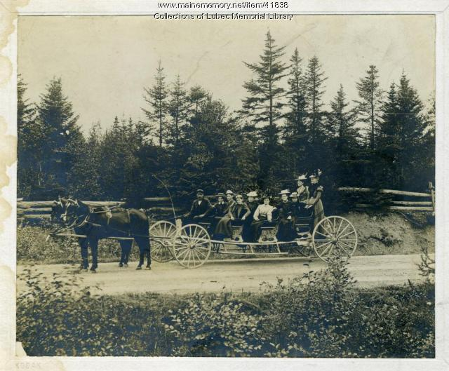 Charlie Scott's buckboard on the way to camp meeting, Lubec, 1890