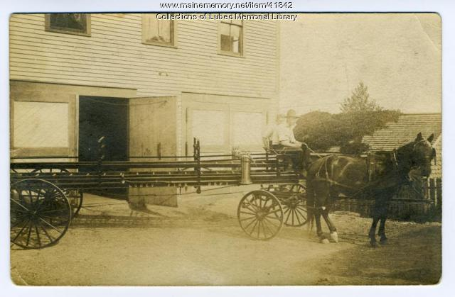 Lubec Fire Department ladder cart, ca. 1915