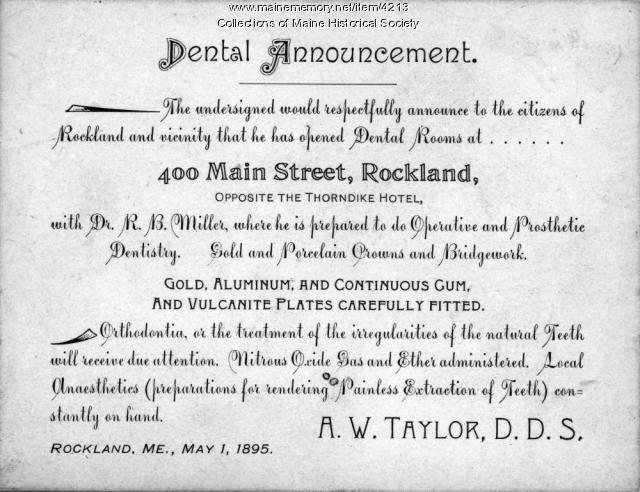 Dental announcement, Rockland, 1895