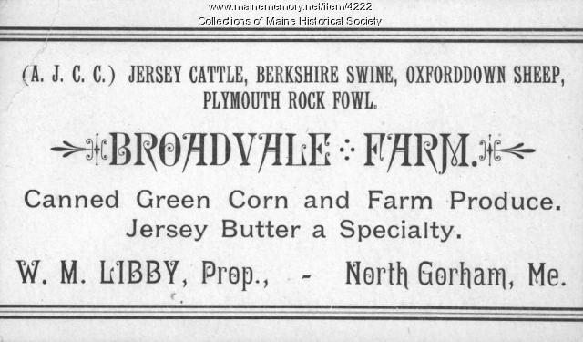 Broadvale Farm card, North Gorham