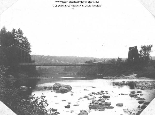Suspension bridge, North New Portland, ca. 1870