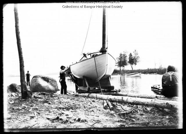 Sailboat in Transition, Pushaw Lake, ca. 1895