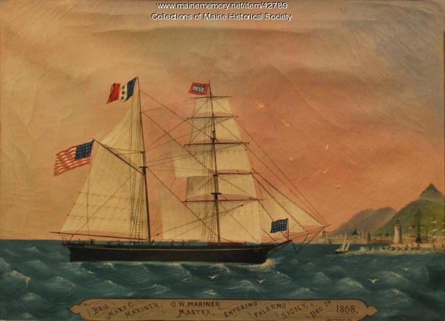 """Ship """"Mary C. Mariner,"""" Sicily, 1868"""