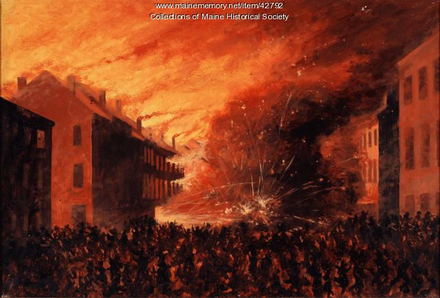 G. Frederick Morse painting of Portland fire, 1866