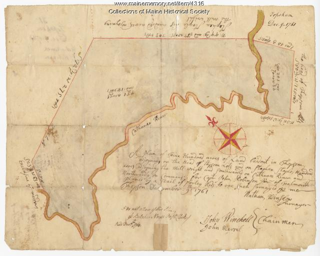 Map of J. Robinson lot, Topsham, 1761
