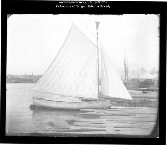 Sailboat and Bangor's skyline, ca. 1895