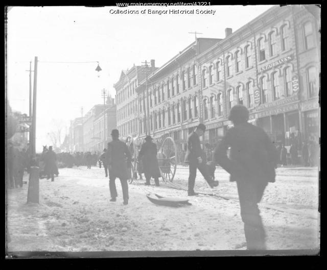 Winter downtown, Bangor, ca. 1895
