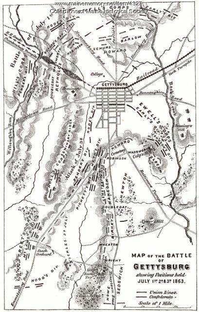 Map of Gettysburg battlefield, 1863