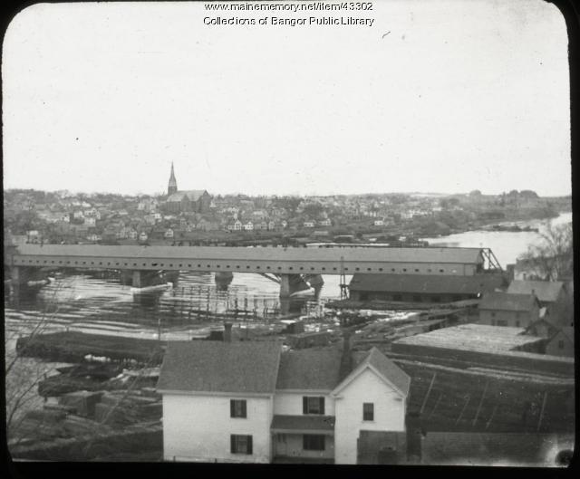 Bangor-Brewer covered bridge, ca. 1900