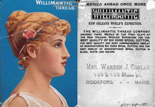 Willimantic Thread Company advertising card, ca. 1885