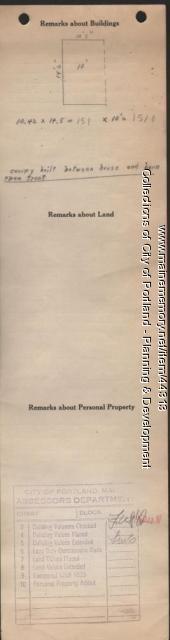 Assessor's Record, 38 Cedar Street, Portland, 1924