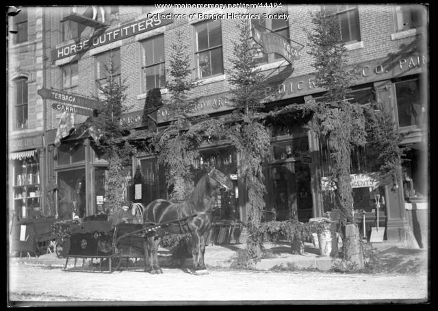 Horse drawn sleigh, Bangor, ca. 1895