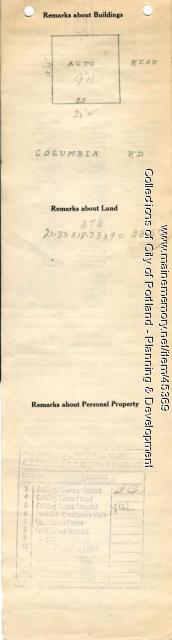 Assessor's Record, 25-27 Columbia Road, Portland, 1924