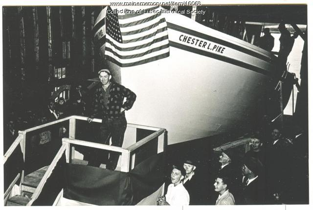 """Chester L. Pike"" launching at Colson Boat Shop, Lubec, 1949"