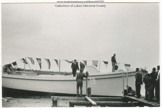 """Chester L. Pike"" hull at Colson Boat Shop, Lubec, ca. 1950"
