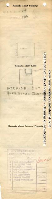 Assessor's Record, 131-133 Danforth Street (rear), Portland, 1924