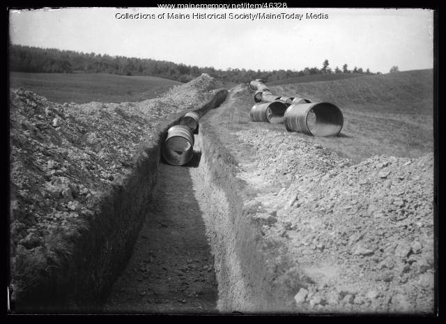 Trench for new water supply, ca. 1923