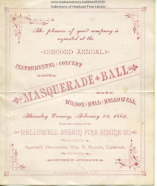 Masquerade Ball, Fire Assocation, Hallowell, 1882