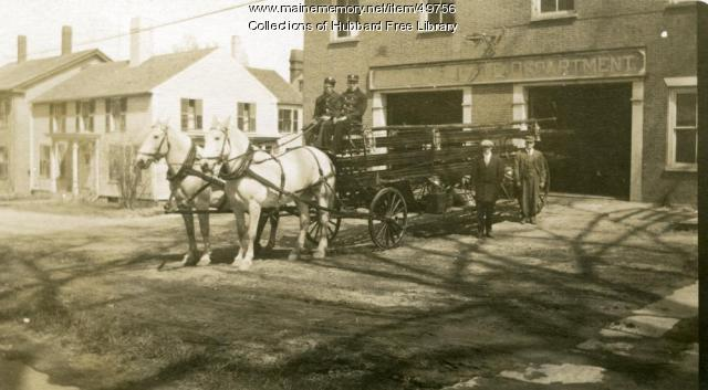 Fire Department Ladder Wagon, Second Street, Hallowell, 1913