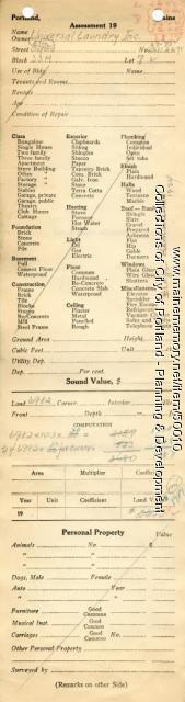 Assessor's Record, 69-73 Elm Street, Portland, 1924