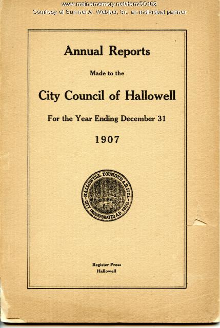 Annual Report, Hallowell, 1907