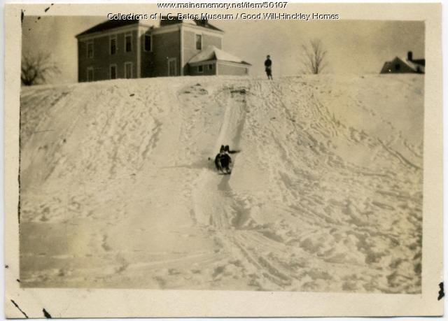 Orphans sledding, Hinckley, ca. 1915