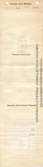 Assessor's Record, 21 Edwards Street, Portland, 1924