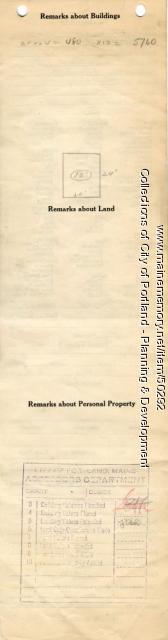 Assessor's Record, Garage & Shop, Elizabeth Road, Portland, 1924