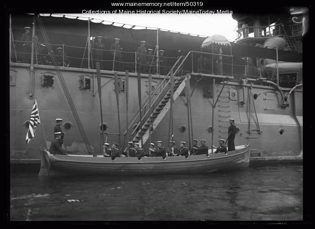 """Kasuga"" and sailors, Portland Harbor, 1920"
