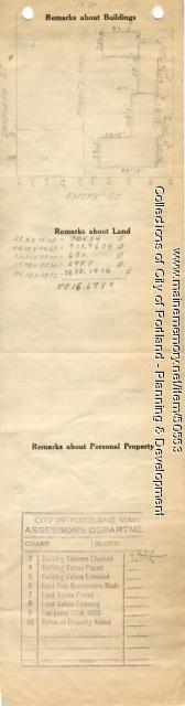 Assessor's Record, 60 Emery Street, Portland, 1924